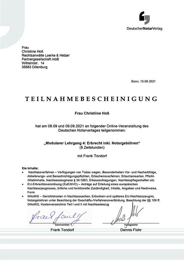 Christine Hoß Fortbildung: Erbrecht inkl. Notargebühren