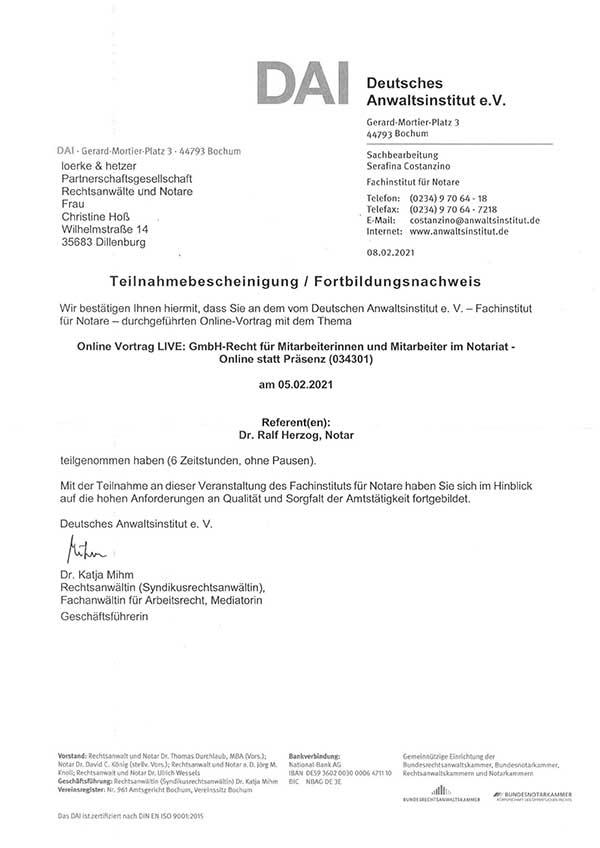 Christine Hoß - Fortbildung: GmbH-Recht für Mitarbeiterinnen und Mitarbeiter im Notariat