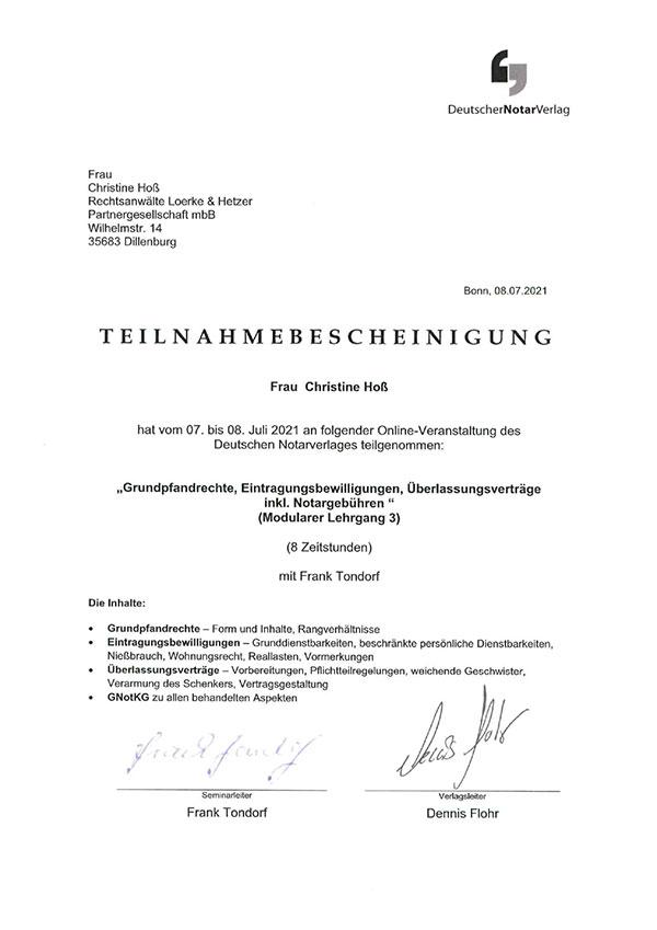 Christine Hoß - Fortbildung: Grundpfandrechte, Eintragungsbewilligungen, Überlassungsverträge inkl. Notargebühren