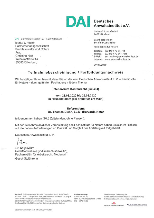Christine Hoß - Fortbildung Intensivkurs Kostenrecht