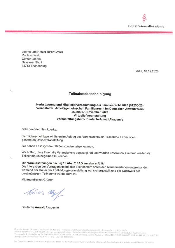 Günter Loerke - Fortbildung: Herbsttagung und Mitgliederversammlung AG Familienrecht