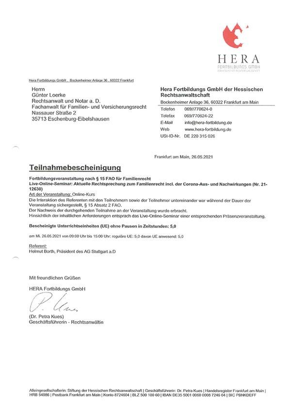 Günter Loerke Fortbildung: Aktuelle Rechtsprechung zum Familienrecht inkl. der Corona-Aus- und Nachwirkungen