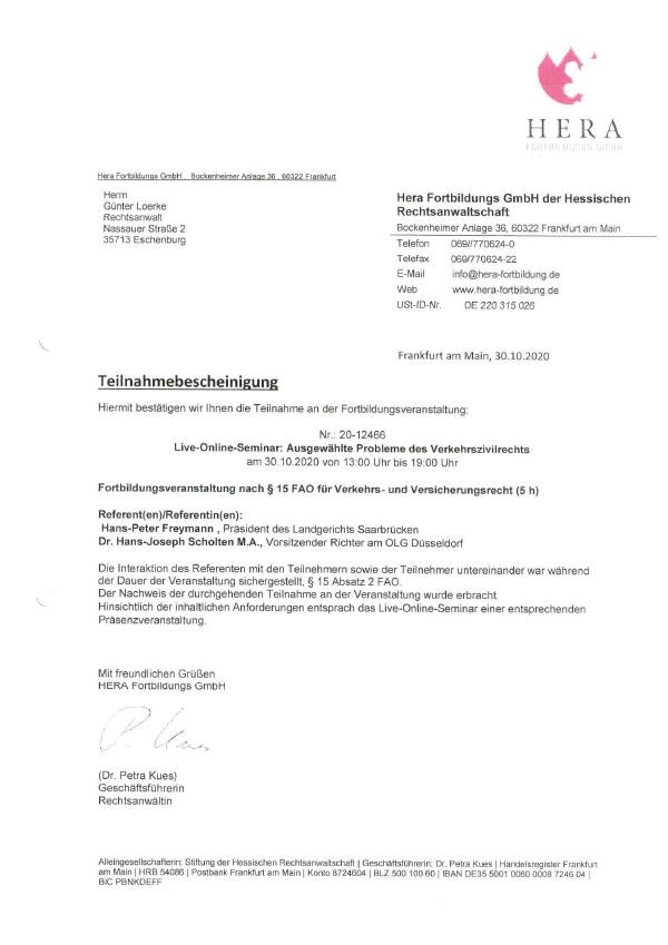 Günter Loerke - Fortbildung: Ausgewählte Probleme des Verkehrszivilrechts