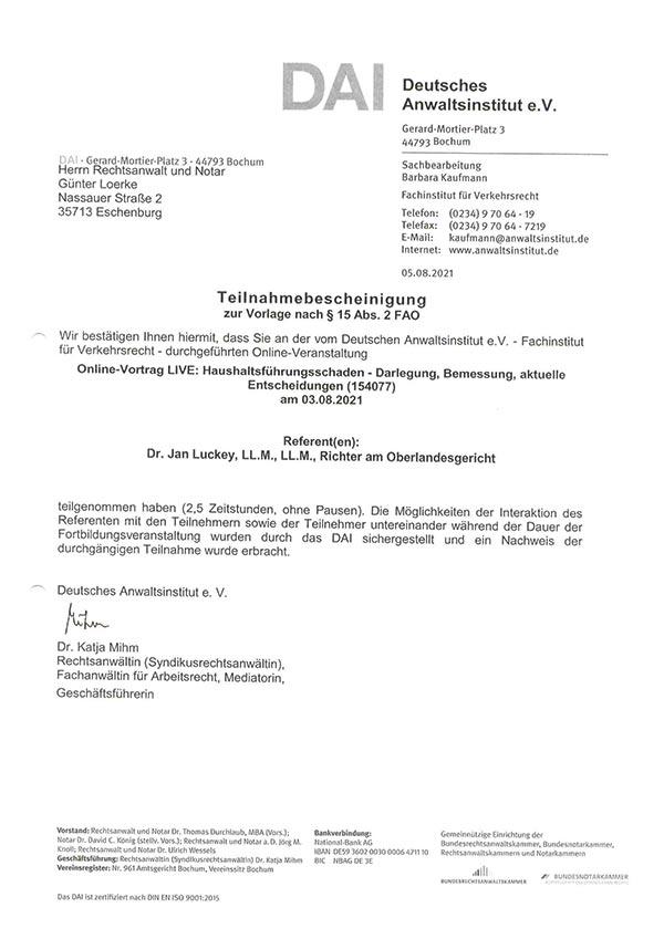 Günter Loerke Fortbildung: Haushaltsführungsschaden - Darlegung, Bemessung, aktuelle Entscheidungen