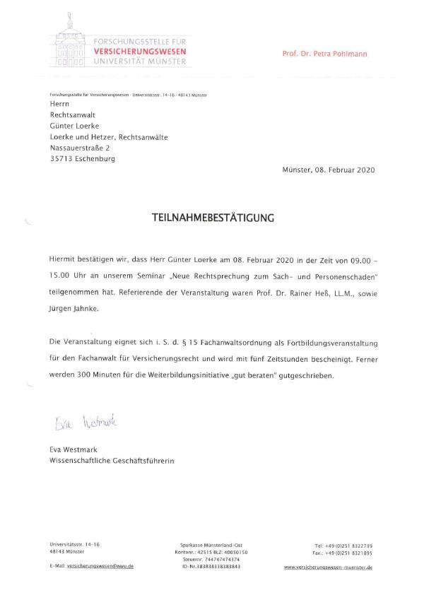 Günter Loerke - Fortbildung: Rechtsprechung Sach- und Personenschaden
