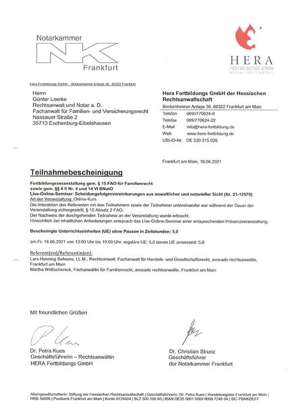 Günter Loerke Fortbildung: Scheidungsfolgenvereinbarungen aus anwaltlicher und notarieller Sicht
