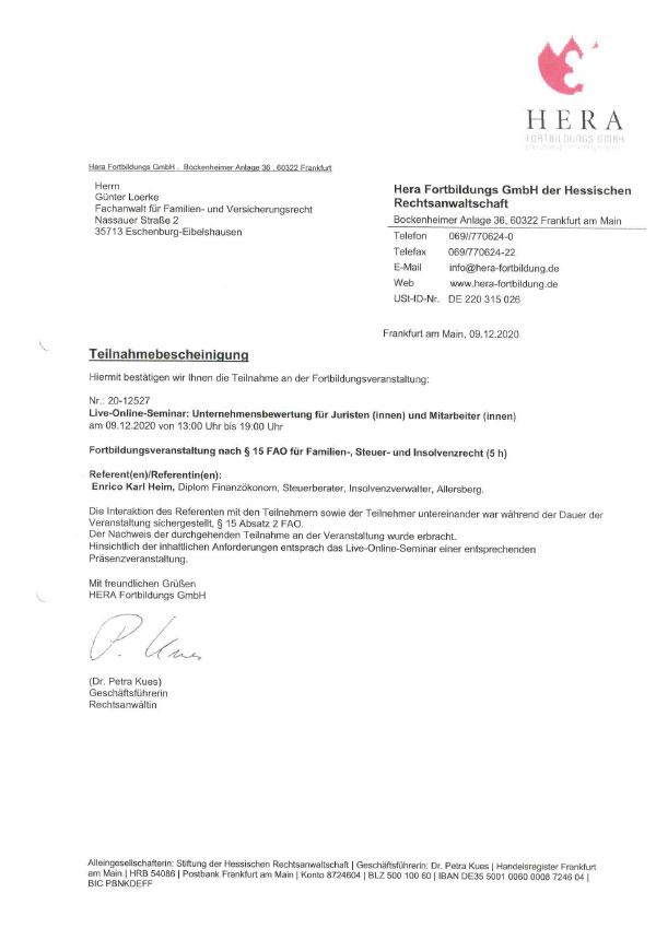 Günter Loerke - Fortbildung: Unternehmensbewertung für Juristen
