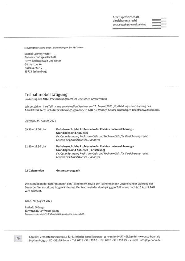 Günter Loerke Fortbildung: Verkehrsrechtliche Probleme in der Rechtsschutzversicherung - Grundlagen und Aktuelles