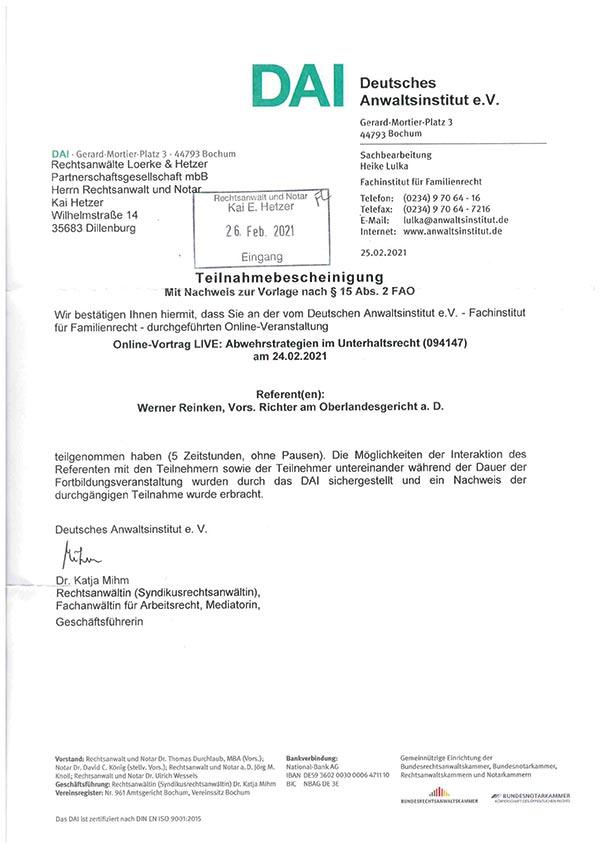 Kai Hetzer - Fortbildung: Abwehrstrategien im Unterhaltsrecht