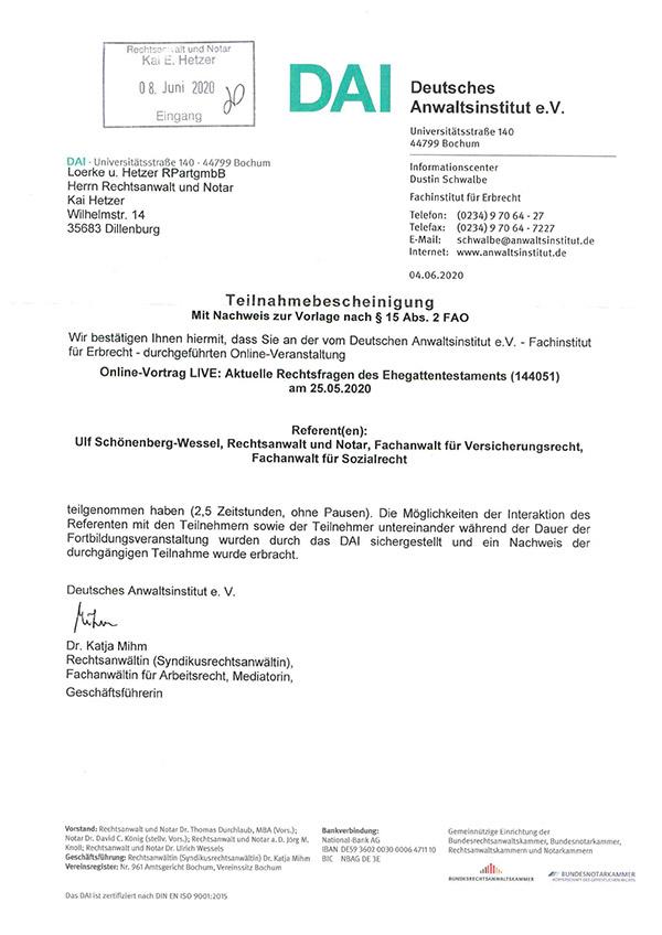 Kai Hetzer - Fortbildung Aktuelle Rechtsfragen des Ehegattentestaments