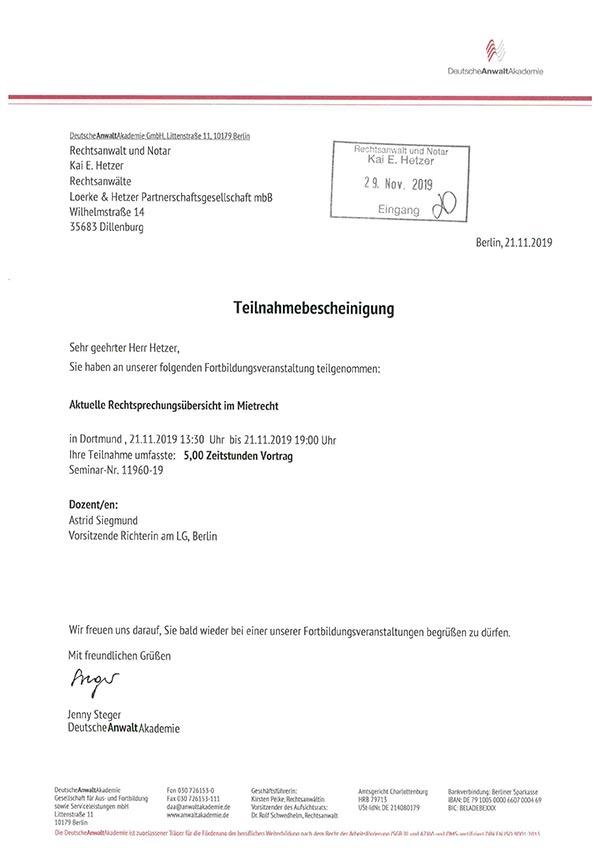 Kai Hetzer - Fortbildung Aktuelle Rechtsprechungsübersicht im Mietrecht