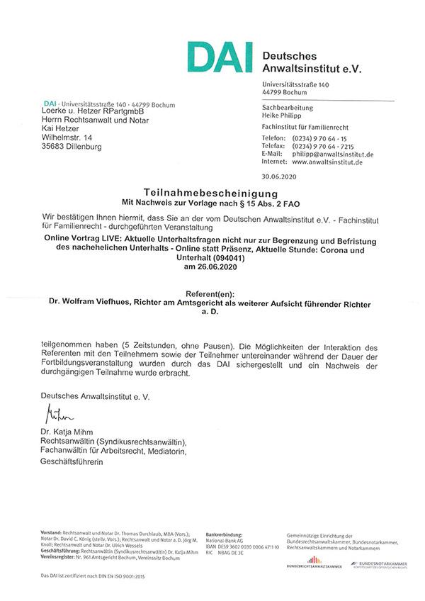Kai Hetzer - Fortbildung Aktuelle Unterhaltsfragen