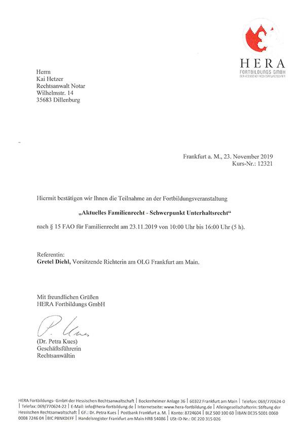 Kai Hetzer - Fortbildung Aktuelles Familienrecht - Schwerpunkt Unterhaltsrecht