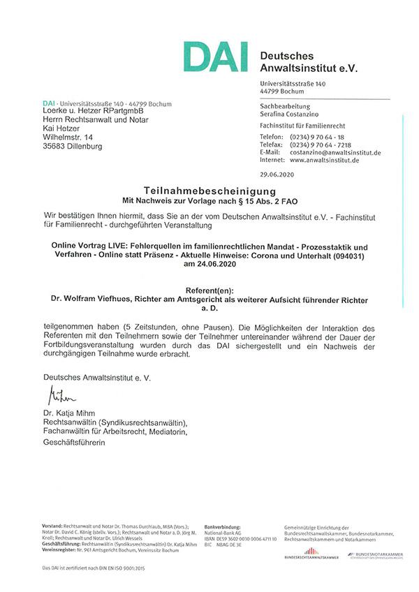 Kai Hetzer - Fortbildung Fehlerquellen im familienrechtlichen Mandat