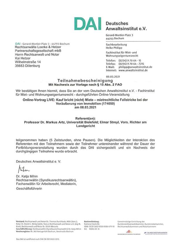 Kai Hetzer - Fortbildung: Kauf bricht (nicht) Miete