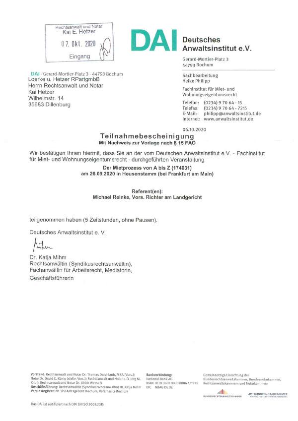 Kai Hetzer - Fortbildung: Der Mietprozess von A bis Z