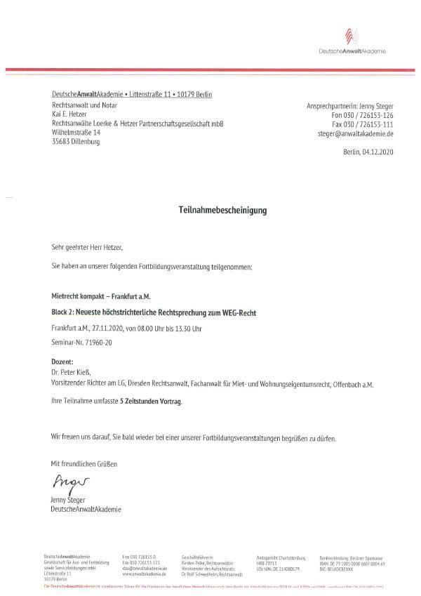 Kai Hetzer - Fortbildung Mietrecht kompakt, Block 3: Neueste höchstrichterliche Rechtsprechung zum WEG-Recht