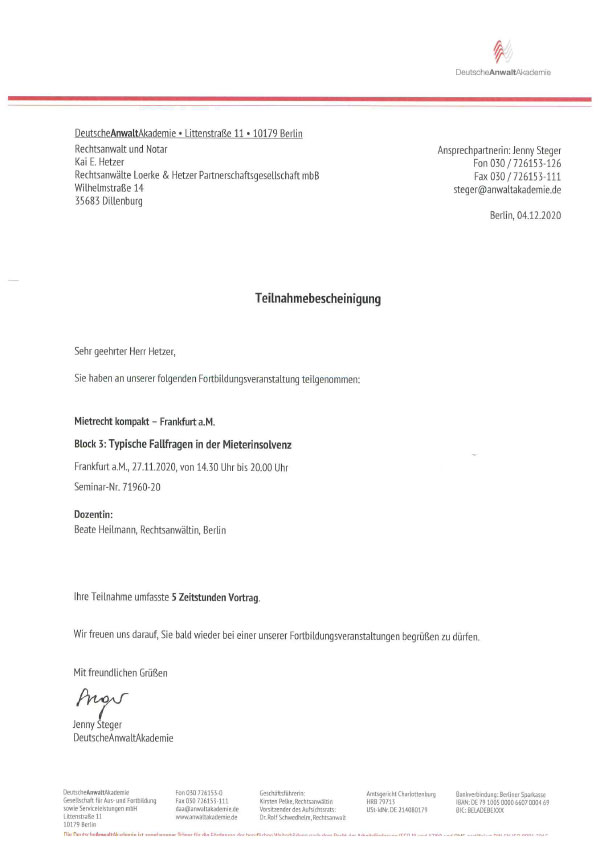 Kai Hetzer - Fortbildung Mietrecht kompakt, Block 3: Typische Fallfragen in der Mieterinsovenz