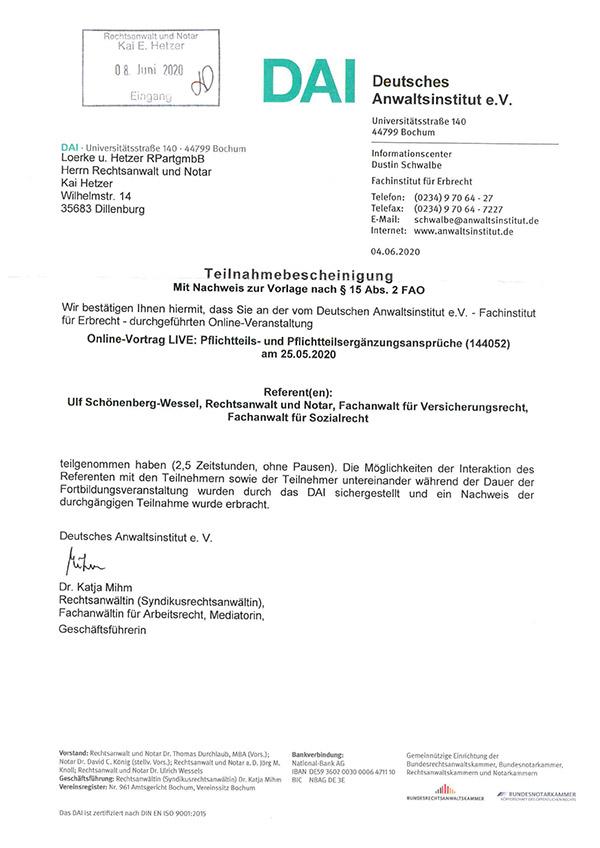 Kai Hetzer - Fortbildung Pflichtteils- und Pflichtteilsergänzungsansprüche