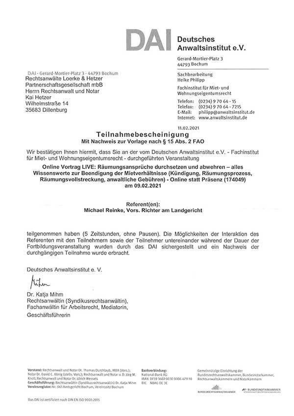 Kai Hetzer - Fortbildung: Räumungsansprüche durchsetzen und abwehren
