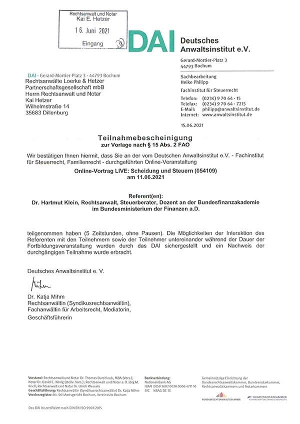 Kai Hetzer - Fortbildung: Scheidung und Steuern