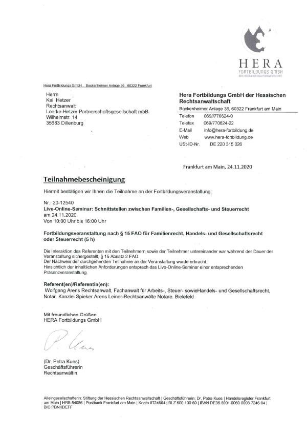 Kai Hetzer - Fortbildung: Schnittstellen zwischen Familien-, Gesellschafts- und Steuerrecht