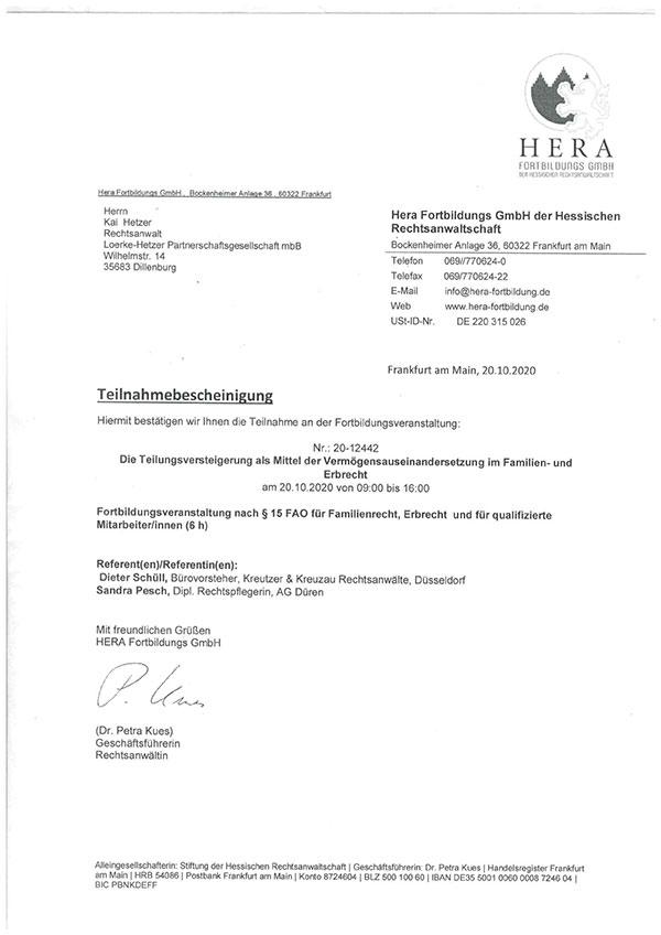 """Kai Hetzer - Fortbildung """"Die Teilungsversteigerung als Mittel der Vermögensauseinandersetzung im Familien- und Erbrecht"""""""