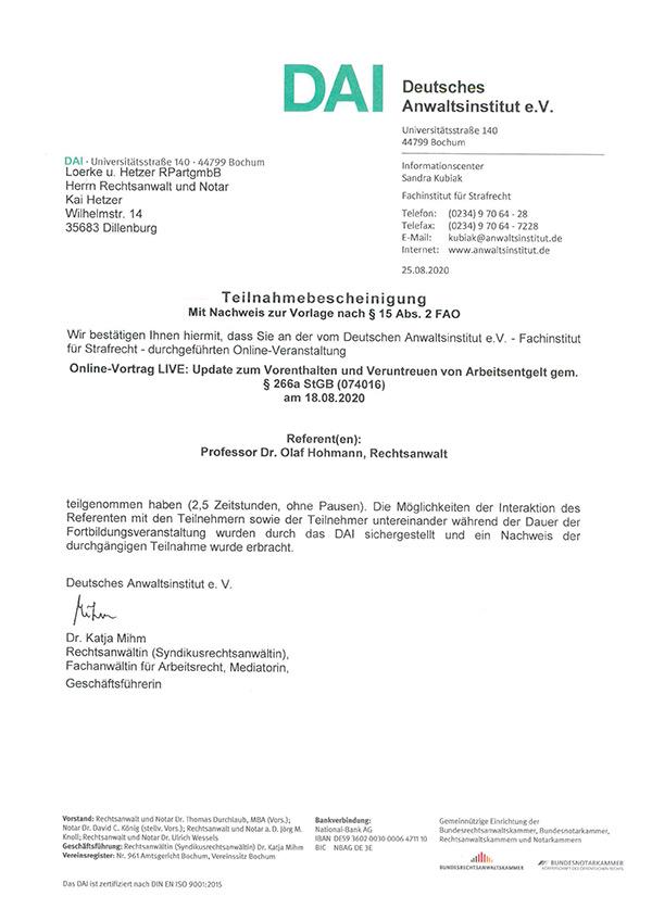 Kai Hetzer - Fortbildung Update zum Vorenthalten und Veruntreuen von Arbeitsentgelt