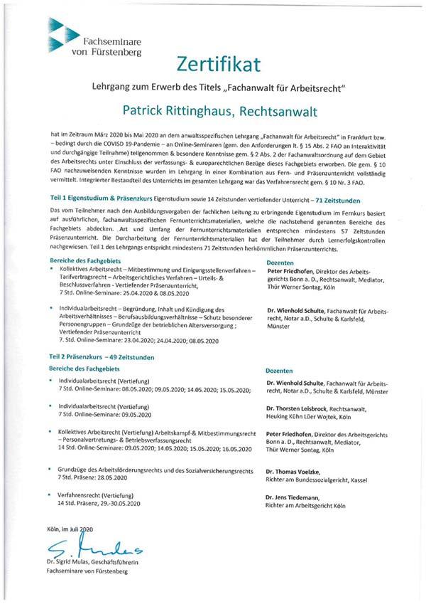 Patrick Rittinghaus - Fortbildung: Fachanwalt Arbeitsrecht
