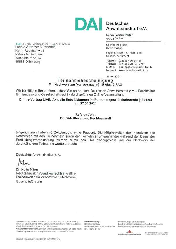Patrick Rittinghaus – Fortbildung: Aktuelle Entwicklungen im Personengesellschaftsrecht