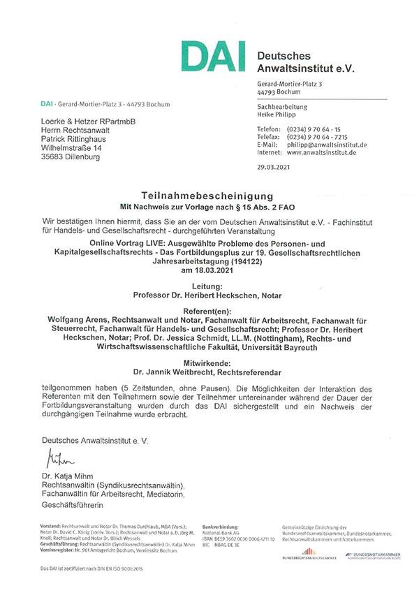 Patrick Rittinghaus – Fortbildung: Ausgewählte Probleme des Personen- und Kapitalgesellschaftsrechts