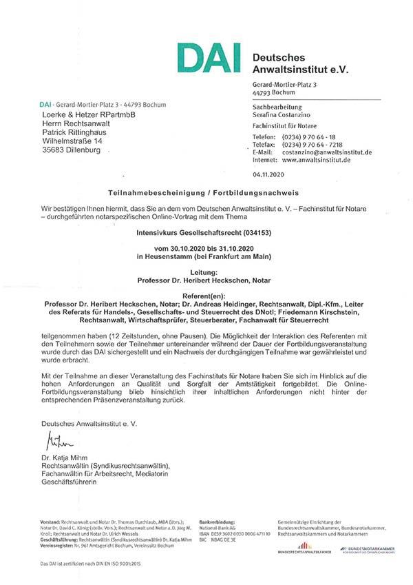 Patrick Rittinghaus - Fortbildung: Gesellschaftsrecht