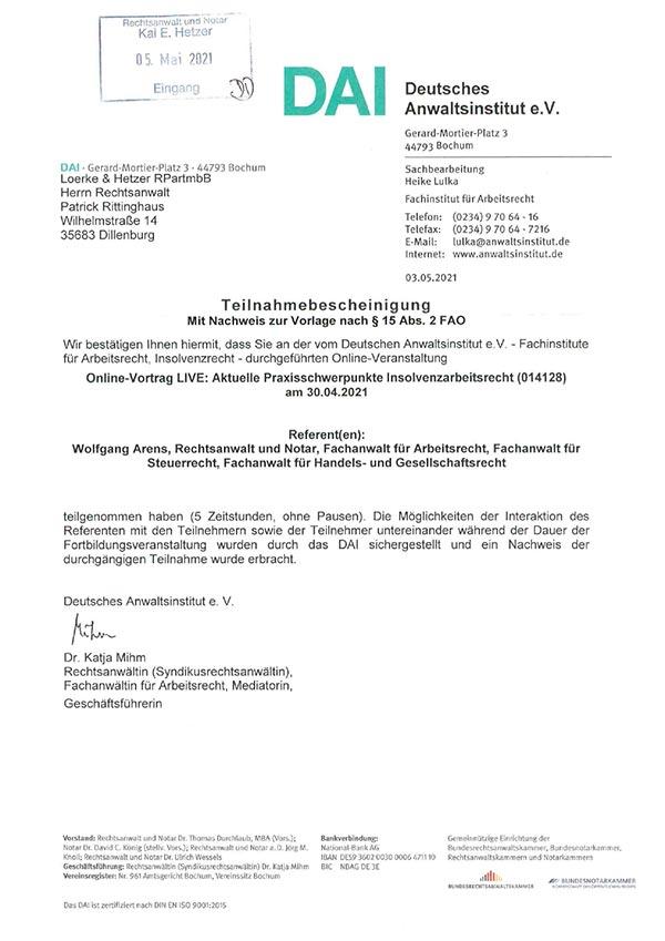 Patrick Rittinghaus – Fortbildung: Aktuelle Praxisschwerpunkte Insolvenzarbeitsrecht
