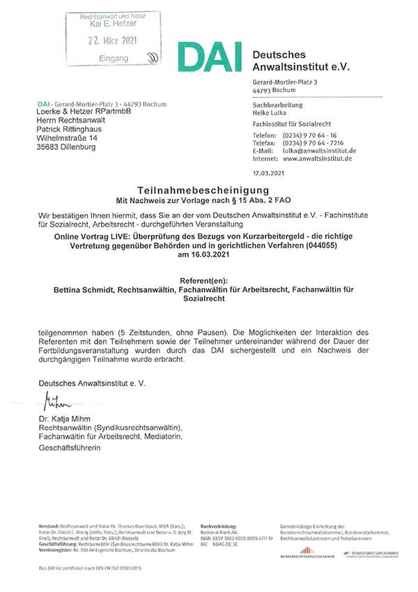 Patrick Rittinghaus – Fortbildung: Überprüfung des Bezugs von Kurzarbeitergeld